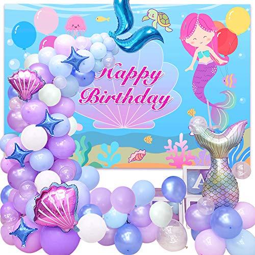 Mermaid Birthday Party Decoration for Girl, Mermaid Balloons Garland Kit,Mermaid Tail Balloons,Scallop Star Foil Balloon,Green Purple Blue Latex Balloons for Princess Birthday Party Decor