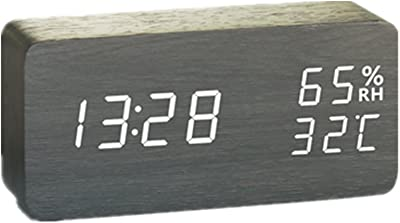 LXY Humedad Control De Sonido De Madera Luminoso Mudo Despertador Electrónico Multifunción Reloj (Color :