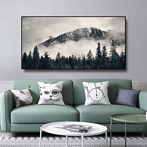 Paisaje del bosque arte de la pared póster en lienzo y grabado lienzo pintura decoración de la sala imagen de la pared decoración del hogar pintura80x40cm sin marco