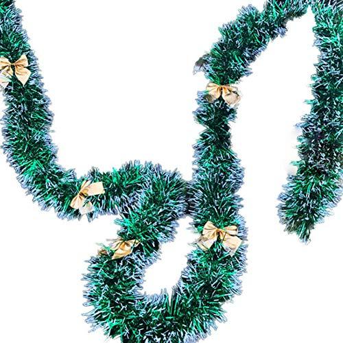 Luo-401XX Decorazioni Per Ghirlande Natalizie Da 200 Cm, Caminetti, Scale, Ghirlanda Decorata, Albero Di Natale, Ornamento Festivo, Centro Commerciale, Bar, Forniture Per Feste Bowknot White Slivery