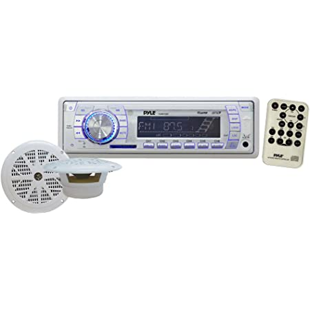 "Marine Receiver & Speaker Kit - In-Dash LCD Digital Display Stereo w/ Clock Function AM FM Tuning Radio 6.5"" Speaker System USB/SD/MMC Readers Panel Button & Remote Control - Pyle White PLMRKT33WT"