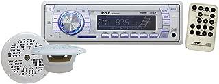 Marine Receiver & Speaker Kit - In-Dash LCD Digital Display Stereo w/ Clock Function AM FM Tuning Radio 6.5
