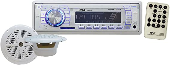 Marine Receiver & Speaker Kit - In-Dash LCD Digital Display Stereo w/ Clock Function AM FM Tuning Radio 6.5