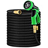 HBlife 150ft Garden Hose, Expandable Water Hose with 3/4' Solid Brass Fittings, Extra Strength Fabric - Flexible Expanding Hose with 9 Function Water Spray Nozzle