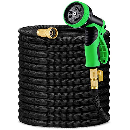 "HBlife 75ft Garden Hose, Expandable Water Hose with 3/4"" Solid Brass Fittings, Extra Strength Fabric - Flexible Expanding Hose with 9 Function Water Spray Nozzle"