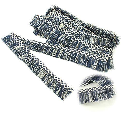 Fringe Tassels Lace Trim, Fringe Trim by The Yard, Sewing Fringe Lace Trim for Drapery Curtain Pillow Carpet Fringe Umbrella Decorative Trim Crafts (Blue and White 1.35 in6 Yards)