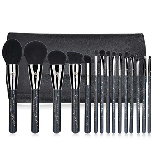 Pinceaux Maquillage Kit cosmétique professionnel 15Pcs avec le pinceau d'oeil de brosse de poudre de brosse de base
