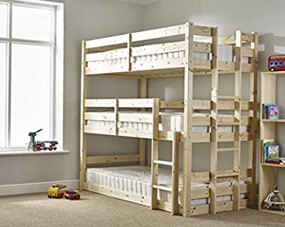 3 Tier Triple Bunkbed with Three memory Foam Mattresses - 3ft Single Triple sleeper Childrens Bunk Bed