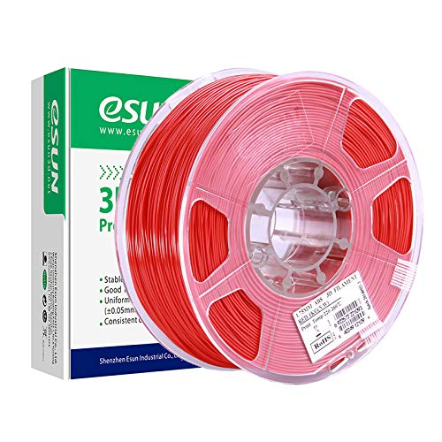 eSUN Filamento ABS 1.75mm, Filamento ABS de Impresión 3D, Precisión Dimensional +/- 0.05mm, 1KG (2.2 LBS) de Carrete para Impresora 3D, Rojo