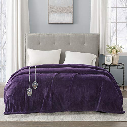 Beautyrest Plush Electric Blanket Throw for Cold Weather Multi-Level Heat Settings Controller, Secure Comfort Low EMF Technology and Auto Shut Off Safety, King, Purple