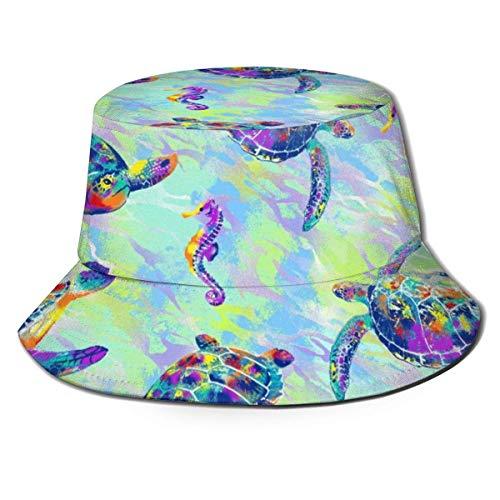Sombrero de Cubo Transpirable Superior Plano Unisex Arte de Acuarela Patrn de Tortugas Marinas Sombrero de Cubo Sombrero de Pescador de Verano