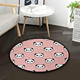 AMONKA - Alfombra redonda para bebé, diseño de oso panda, color rosa