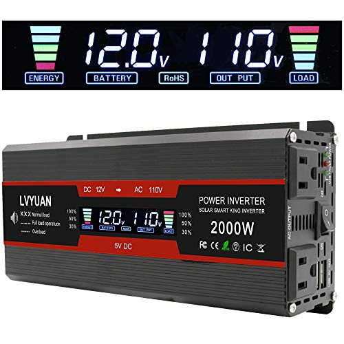 Cantonape 1000W/2000W(Peak) Car Power Inverter DC 12V to 110V AC Converter with LCD Display Dual AC...
