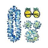 PRETYZOOM Conjunto de Pulsera de Collar de Flores Hawaianas con Gafas de Fiesta Fiesta Tropical Leis Disfraz Diadema Accesorios Disfraces de Fiesta Luau Fiesta 5 Piezas (Azul)