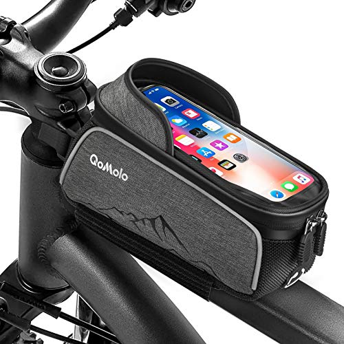 Qomolo Bolsa de Bicicleta, Bolsas Impermeable para Bicicleta de Montaña con Pantalla Táctil y Visera, Bolso del Marco de la Bici para Teléfonos Móviles de Menos 7 Pulgadas (con Cubierta de Lluvia)