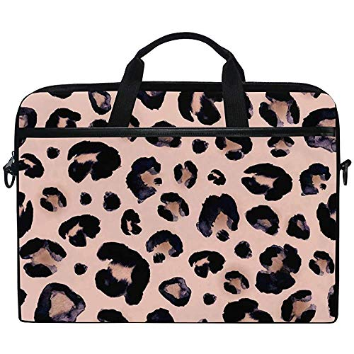 Watercolor Animal Snow Leopard Pink Beige Laptop Case Bag Sleeve Portable/Crossbody Messenger Briefcase Convertible W/Strap Pocket For Macbook Air/Pro Surface Dell Asus Hp Lenovo,14-14.5 Inch