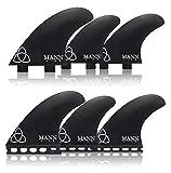Naked Viking Surf Mannkine Tri-Quad Large Surfboard Fins, Apex Series (Set of 5), FCS