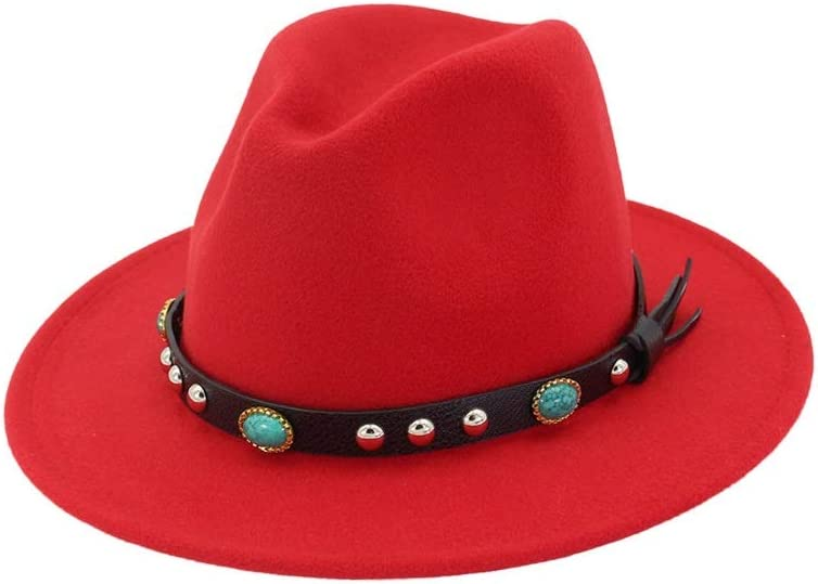 No-branded Women Men Wool Fedora Hat with Punk Belt Wide Brim Hat Outdoor Travel Casual Hat Size 56-58CM ZRZZUS (Color : Red, Size : 56-58)