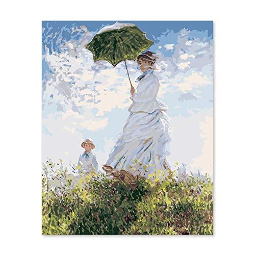 KHGAHD Pintura Por Números Arte Pintura Por Número Diy Impresión Pintura Monet Esposa Paraguas Mujer without Frame -40x50cm