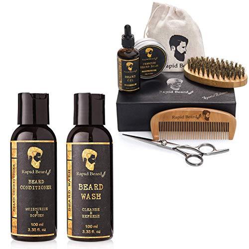 Beard Grooming & Trimming Kit and Beard Shampoo and Beard Conditioner Wash Bundle Set
