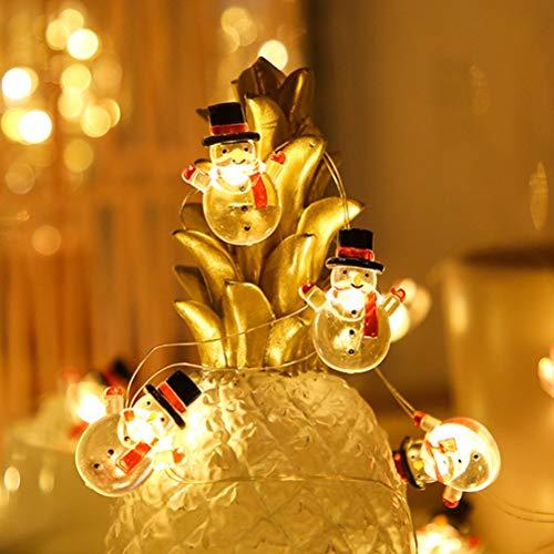 Bireegoo Lichterkette, 3 m, 30 LEDs, Schneemann-Lichterkette, batteriebetrieben, für Innen- und Außenbereich, Weihnachtsdekoration