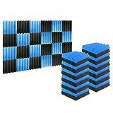 arrowzoom 24 pannelli fonoassorbenti wedge cuneo correzzione acustica ritardante di fiamma isolamento acustico 25x25x5cm blu & nero