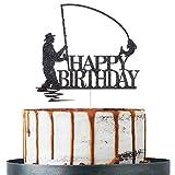 Decoración para tarta de cumpleaños con purpurina, color negro, decoración para fiestas de cumpleaños, suministros para fiestas de cumpleaños de pescador