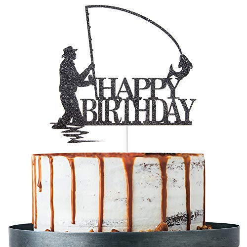 Happy Birthday Cake Topper for Fisherman