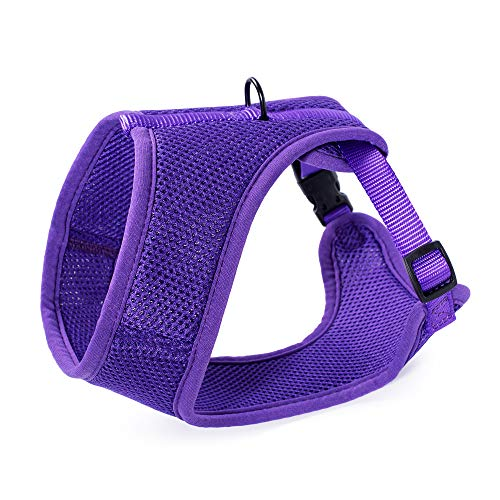 Mile High Life | Dog Cat Vest Harness | No Choke Pull | Easy Step-in | Breathable Soft Mesh Padding | Puppy Training Halter | Solid Purple | Small Girth (13.2