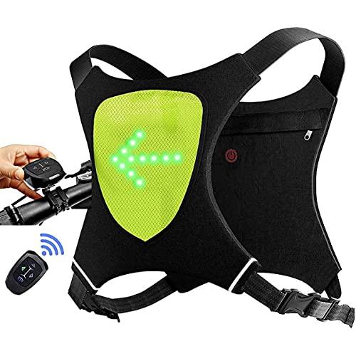 zhouxi Chaleco con Luces LED Intermitente Indicador 4 Direcciones Ajustables, Chaleco Reflectante de Seguirdad con Luz de Advertencia Nocturna en Bicicleta para Ciclismo