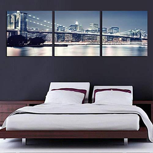 aoyukf Pintura De Pared Moderna De 3 Piezas Puente De Brooklyn De Nueva York Inicio Arte Decorativo Imagen Pintura sobre Lienzo Impresiones-Sin marco-50cmx50cmx3