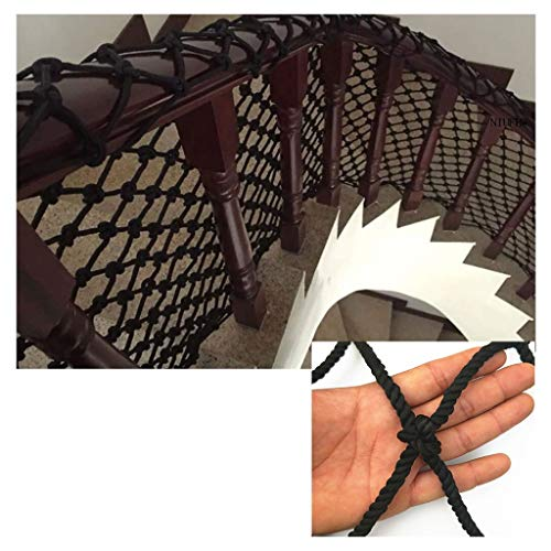 Buy NIUFHW Nylon Rope Net Black, Stairs Children Anti-Fall Net Balcony Safety Net Garden Decoration ...