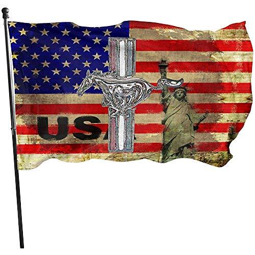 KDU Fashion Garden Flag,Amerikanische Fliege Brise Flagge - Ford Mustang, Farbiges Logo Kreative Haus Garten Banner Für Home Holiday Dekoration 90x150cm