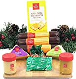 Hickory Farms Gift Basket and Bamboo Cutting Board Gift Set - Gourmet Christmas Edition with Beef Summer Sausage, Cheese, Crackers, and BONUS Andes Mints
