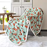 BORITAR Sherpa Throw Blanket Super Soft Warm Ultra Luxurious Fleece Blanket for Baby Children Teen Boys, Unisex or Adult Minky Blanket with Sherpa Plush Backing (50 x 60 Inch, Lovely Brown Fox)