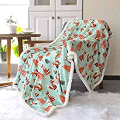 """LARGE ENOUGH AND WELL FOR EVERYONE: This sherpa throw blanket is 50""""x60"""",lovely fox printed with super soft sherpa backing.Not only for baby, but also for kids, children, boys, girls and moms SUPER SOFT, WARM, COZY AND BREATHABLE: This throw blanket ..."""