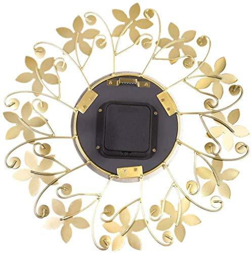 35cm Europese Retro Bloemen smeedijzeren huis wandklok Living Room Decoration Mute Klok Creative Wall Clock, Goud, Kleur: Goud (Color : Gold)
