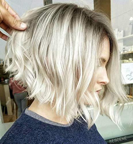 Ugea Echte Haare Peruecke Bob 130% Dichte Braun Gestrahnt Blond Einstellbarer Kopfumfang Glatt Lace Front Wig 14 zoll