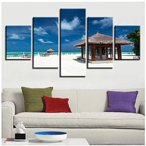 XXSCZ 5 Canvas Schilderijen Muur Art HD afdrukken Schilderij 5 Stuks Houten Paviljoen en Strand Blauwe Hemel Witte Wolk Zeegezicht Modulaire Canvas Foto's Decor Thuis 30x40 30x60 30x80cm Met Frame