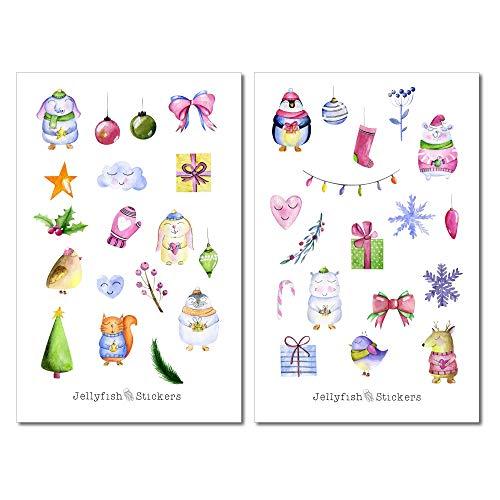 Tiere Geschenke Weihnachten Sticker Set | Journal Sticker | Planersticker | Aufkleber Weihnachten | Feiertage, Winter, Sticker niedlich