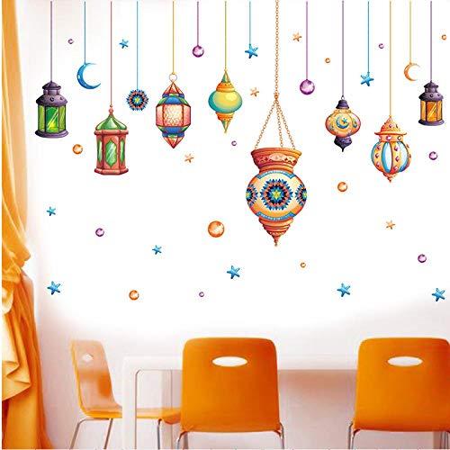 kldfig Kleurrijke Kroonluchter Slaapkamer Muurstickers Licht Lampje Home Decor voor Kids Kamer Art PVC Vinyl Muurstickers Creatieve Kamer Decoratie-60 * 90cm