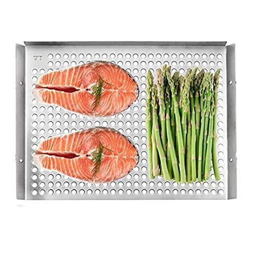 QHGao Edelstahl BBQ Grill Fach, Großer Tabletts Mit Edelstahl-Griffen Für Fleisch, Gemüse Und Meeresfrüchte