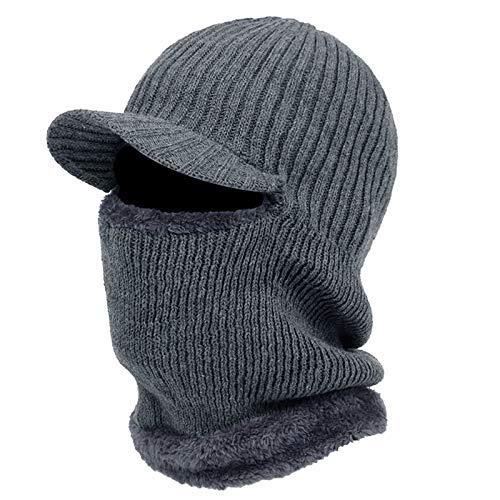 Herren Winter Strick Sturmhaube Beanie Mütze mit Visier Plüsch Futter Nackenwärmer Maske