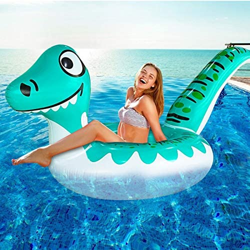 TURNMEON Giant Dinosaur Inflatable Pool Float Party Toys Ride on with Durable Handles Summer product image