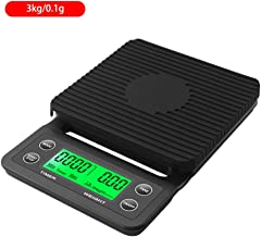 DYHOZZ 3kg/0.1g 5kg/0.1g Drip Coffee Scale with Timer Portable Electronic Digital Kitchen Scale High Precision LCD Electronic Scales (Color : Black, Size : 3KG/0.1G)