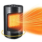 Portable Ceramic Electric Space Heaters w/Adjustable Thermostat, Fast Heat in 3s-1500W / 750W Small Personal Mini Heater for Office Home Indoor Room Bedroom Desk Energy Efficient Fireplace