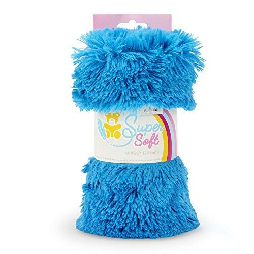kullaloo Supersoft Shaggy 20mm SB-Pack Plüschstoff, Minky, Blau, 100 x 75 cm
