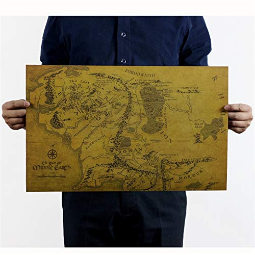 Carte De La Terre Du Milieu Le Seigneur Des Anneaux Affiche Vintage Rétro Peinture Décorative Papier Kraft Pour Salon 51X35Cm Hd053
