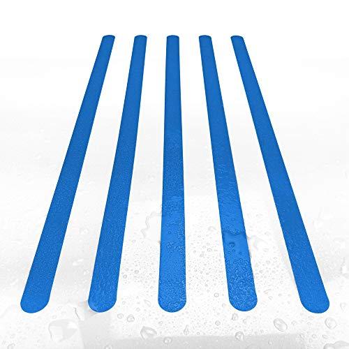 AnTina TAPES Anti-Rutsch-Streifen/Aufkleber, Streifen 3x64cm, farbig, für Dusche/Badewanne, Rutschklasse C DIN 51097, ultradünn, selbstklebend, 8 Stück (blau)