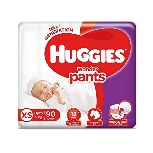 Huggies Wonder Pants Extra Small / New Born (XS / NB) Size Diaper Pants, with Bubble Bed Technology for comfort, (1.5 kg - 5.0 kg) (90 count)